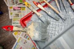 Grupo de ferramentas do pintor Fotografia de Stock