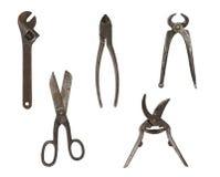 Grupo de ferramentas do trabajo em metal Fotos de Stock Royalty Free
