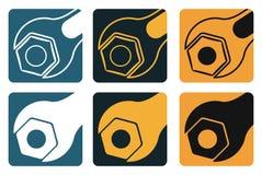 Grupo de ferramentas do vetor, de chave e de porca do parafuso Imagens de Stock