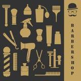 Grupo de ferramentas do vintage do barbeiro Imagem de Stock