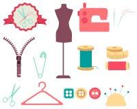 Grupo de ferramentas e de acessórios da costura Fotografia de Stock