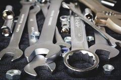 Grupo de ferramentas no fundo preto Fotografia de Stock Royalty Free