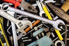 Grupo de ferramentas no fundo preto Imagens de Stock