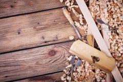 Grupo de ferramentas para o woodworking foto de stock