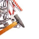 Grupo de ferramentas sobre o fundo isolado branco Fotografia de Stock