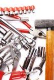 Grupo de ferramentas sobre o fundo isolado branco Foto de Stock