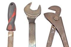 Grupo de ferramentas velhas - grosa, chave inglesa, chave Fotografia de Stock