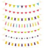Grupo de festões coloridas, ilustração do vetor Imagem de Stock