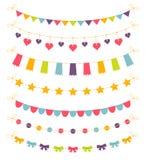 Grupo de festões coloridas, ilustração do vetor Fotografia de Stock