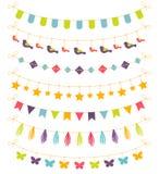 Grupo de festões coloridas, ilustração do vetor Fotos de Stock