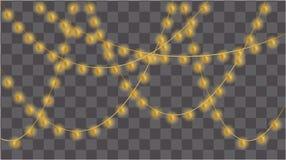 Grupo de festões das lâmpadas do ouro, decorações festivas ilustração royalty free