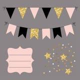 Grupo de festões lisas douradas, pretas e cor-de-rosa das estamenhas, de bandeiras, de estrelas e de quadro curvado Decoração par Imagens de Stock Royalty Free