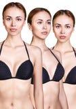 Grupo de figuras da mulher no roupa de banho preto Fotos de Stock Royalty Free