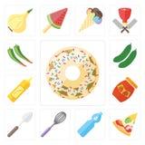 Grupo de filhós, pizza, água, batedor de ovos, colher, doce, mostarda, Cucum ilustração royalty free