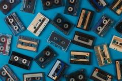 Grupo de fita retro velha das cassetes áudio Imagem de Stock