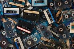 Grupo de fita retro velha das cassetes áudio Fotografia de Stock