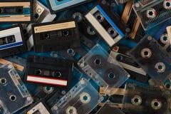 Grupo de fita retro velha das cassetes áudio Fotos de Stock