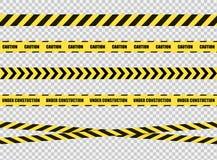 Grupo de fitas da parada do vetor, sinal perigoso da zona, linhas transversais amarelas e pretas brilhantes no fundo transparente ilustração do vetor