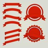 Grupo de fitas, de etiquetas e de crachás de papel vermelhos Fotos de Stock Royalty Free