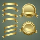 Grupo de fitas, de etiquetas e de crachás do ouro Fotos de Stock