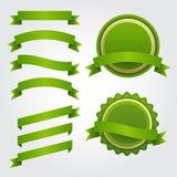 Grupo de fitas, de etiquetas e de crachás do papel verde Fotografia de Stock