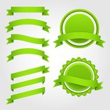 Grupo de fitas, de etiquetas e de crachás do papel verde Imagem de Stock