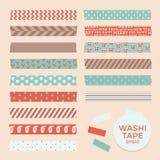 Grupo de fitas do washi do Natal do vintage, fitas, elementos do vetor, testes padrões bonitos do projeto Imagens de Stock Royalty Free