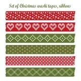 Grupo de fitas do washi do Natal do vintage, fitas, elementos, testes padrões bonitos do projeto Fotografia de Stock Royalty Free