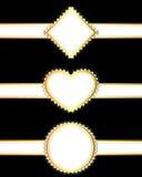 Grupo de fitas douradas com bandeiras ilustração royalty free