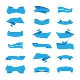 Grupo de fitas e de etiquetas no vetor azul Imagem de Stock