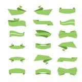 Grupo de fitas e de etiquetas no vetor Verde Fotografia de Stock