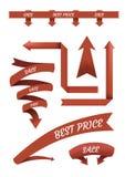 Grupo de fitas vermelhas isoladas no fundo branco Imagem de Stock Royalty Free
