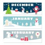 Grupo de Flashcards do calendário dos meses de inverno ilustração stock