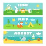 Grupo de Flashcards do calendário dos meses do verão ilustração do vetor