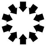 Grupo de flechas que siguen un círculo que señala hacia adentro ilustración del vector