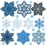 Grupo de flocos de neve com parâmetros diferentes: bonito, grande, l Imagem de Stock