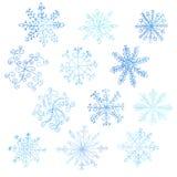 Grupo de flocos de neve da aquarela ilustração stock