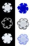 Grupo de flocos de neve do Natal no fundo branco e preto Isolado Imagem de Stock Royalty Free