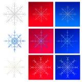 Grupo de flocos de neve em fundos vermelhos Fotografia de Stock