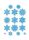 Grupo de flocos de neve cinzelados isolados no fundo branco Foto de Stock Royalty Free