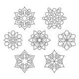 Grupo de flores abstratas com linhas de entrelaçamento Fotografia de Stock Royalty Free