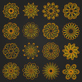 Grupo de flores amarelas mandala Imagem de Stock