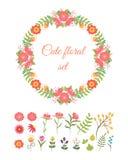 Grupo de flores bonitos e de grinalda da garatuja Fotografia de Stock