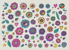Grupo de flores coloridas da hippie ilustração do vetor