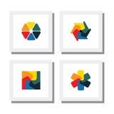 Grupo de flores coloridas, designs florais - vector ícones Imagem de Stock