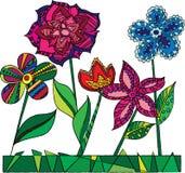 Grupo de flores decorativas engraçadas das cores Fotografia de Stock Royalty Free