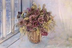 Grupo de flores secadas em um ramalhete Imagem de Stock