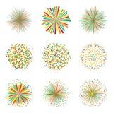 Grupo de fogos-de-artifício coloridos no fundo branco, vetor Imagem de Stock