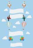 Grupo de foguete do balão e do homem de negócios do voo ilustração stock