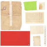Grupo de folhas e de cartão de papel velhos Imagem de Stock